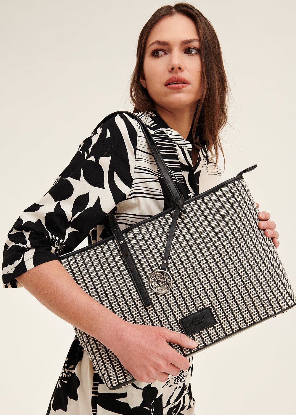 Betsy striped shopping bag - Black - Woman