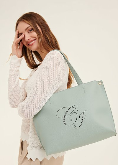 Bridge shopping bag with openwork logo