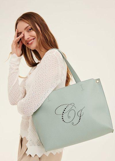 Bridge shopping bag with openwork logo