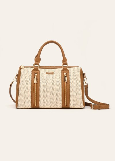 Blondy straw and faux-leather boston bag