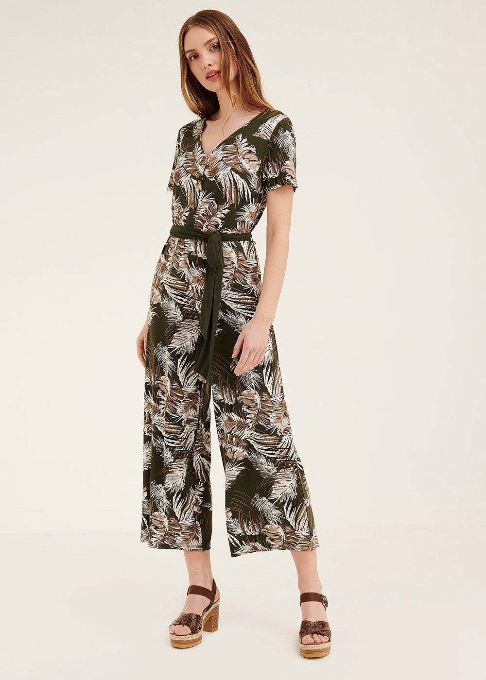 Tracy jumpsuit with leaf pattern - Kaki / White / Fantasia - Woman