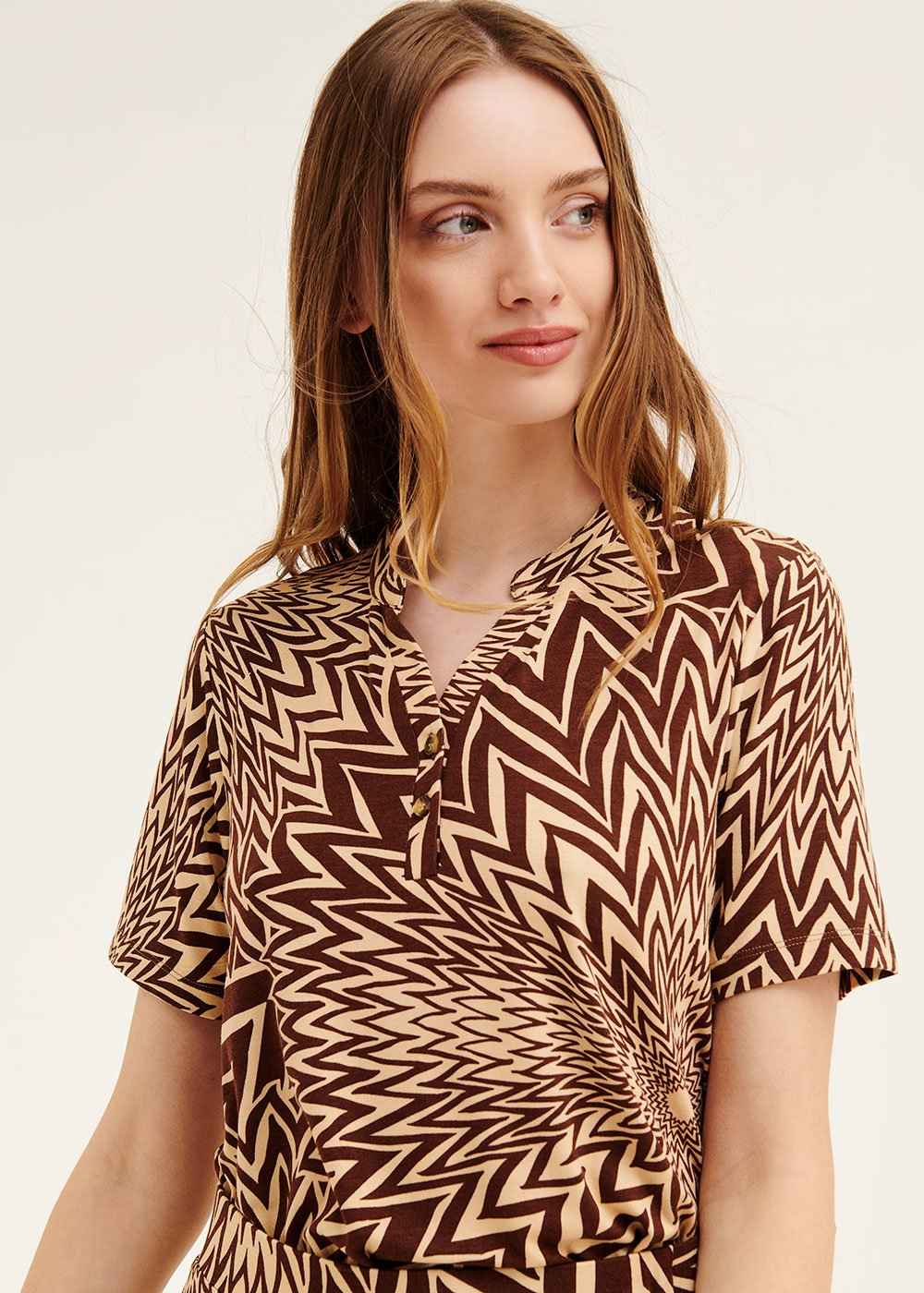 Sidony t-shirt with optical pattern - Safari / Cacao Fantasia - Woman
