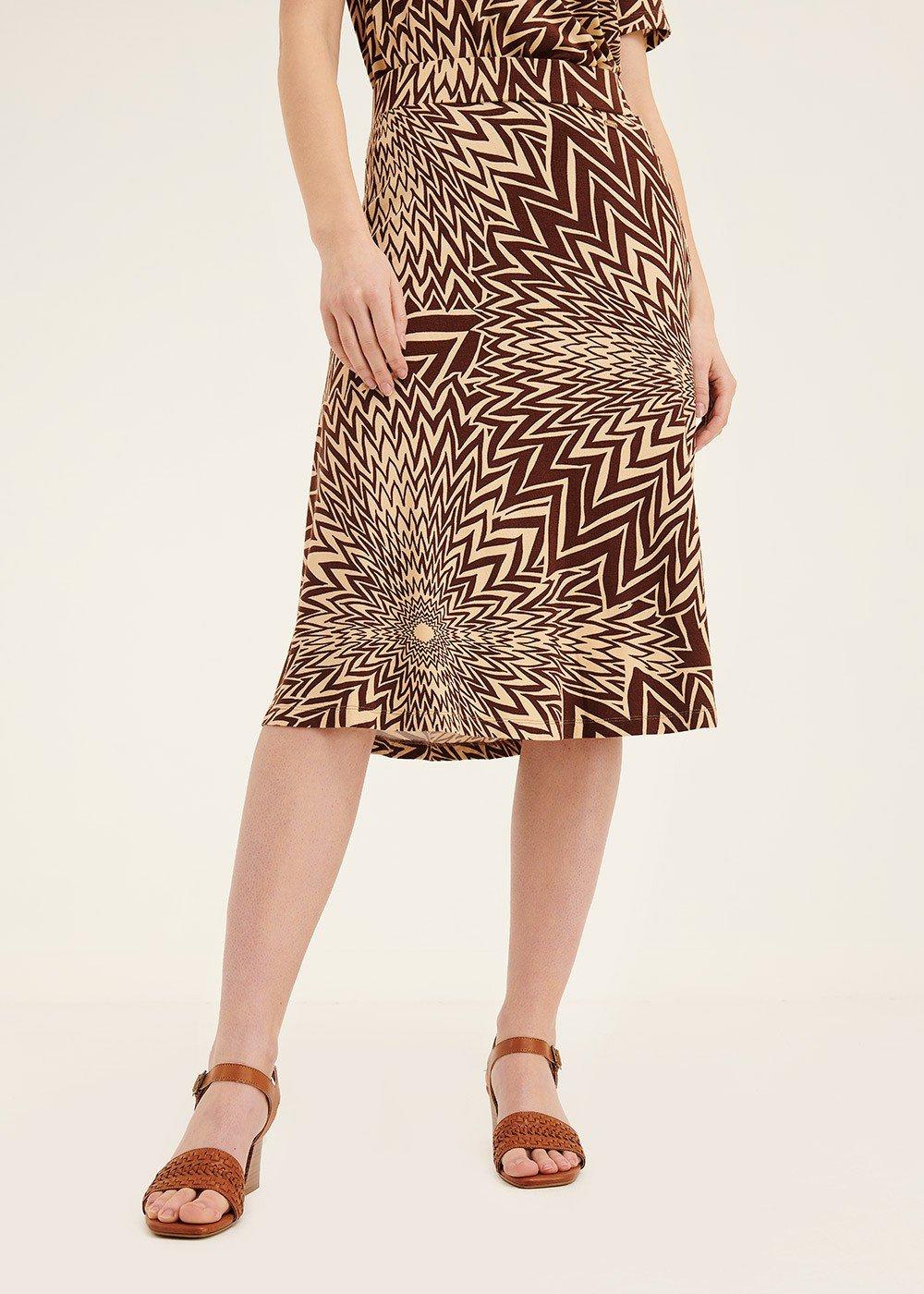 Gaby skirt with optical pattern - Safari / Cacao Fantasia - Woman