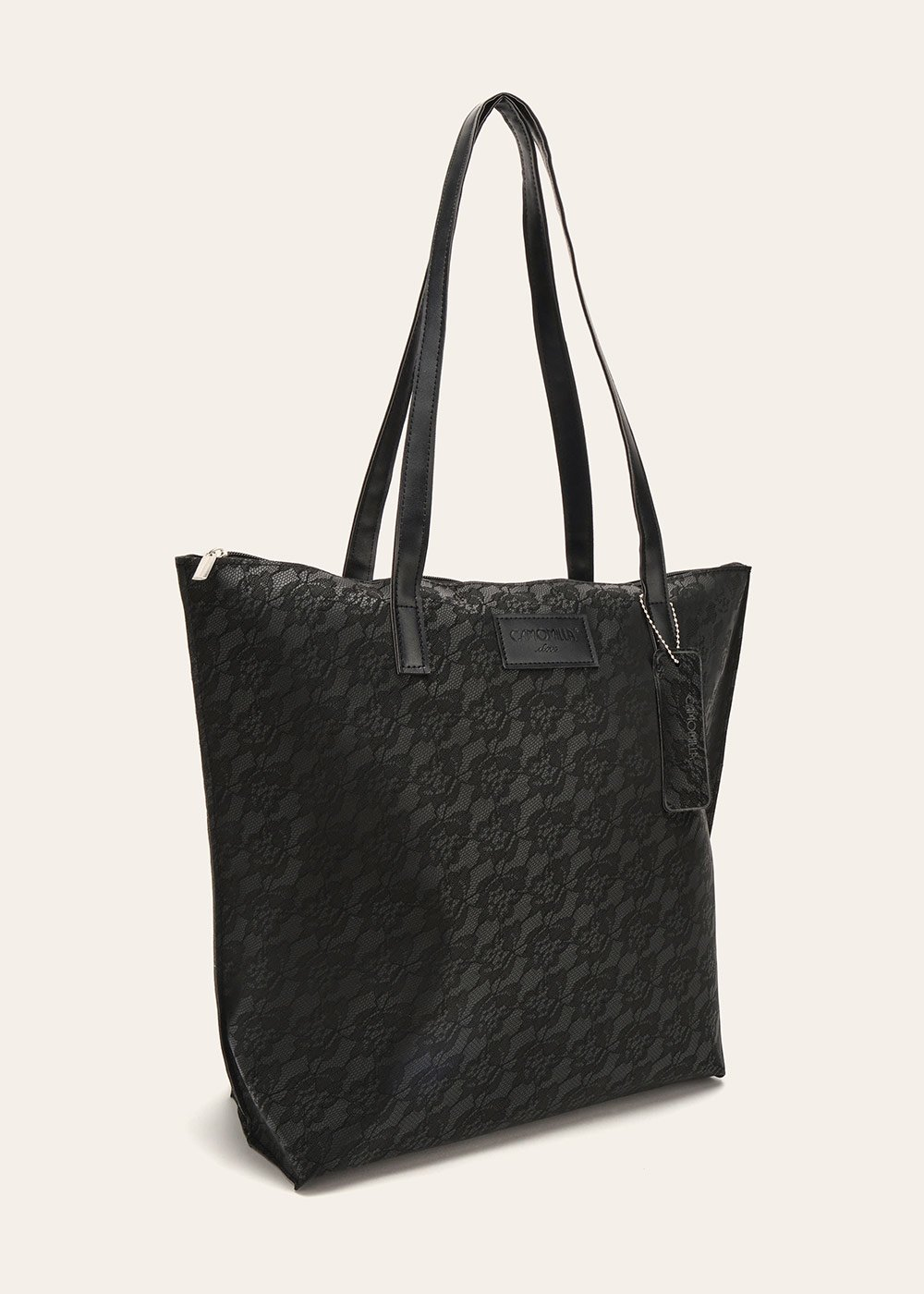 Beatrice shopping bag with rubberized effect - Black - Woman