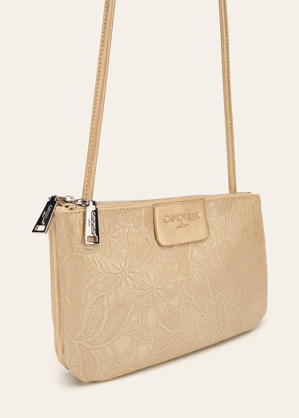 Tonga floral print clutch bag with shoulder strap - Gold - Woman