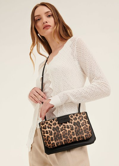 Tonga animal print clutch bag with shoulder strap