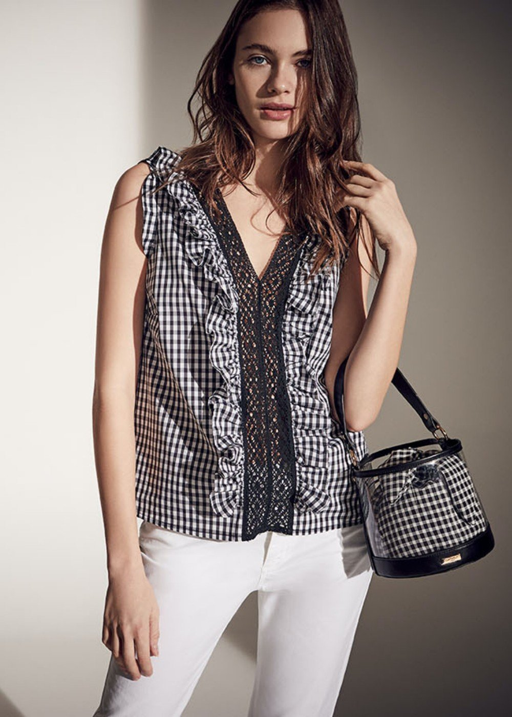 Carola vichy print shirt - Black White Fantasia - Woman