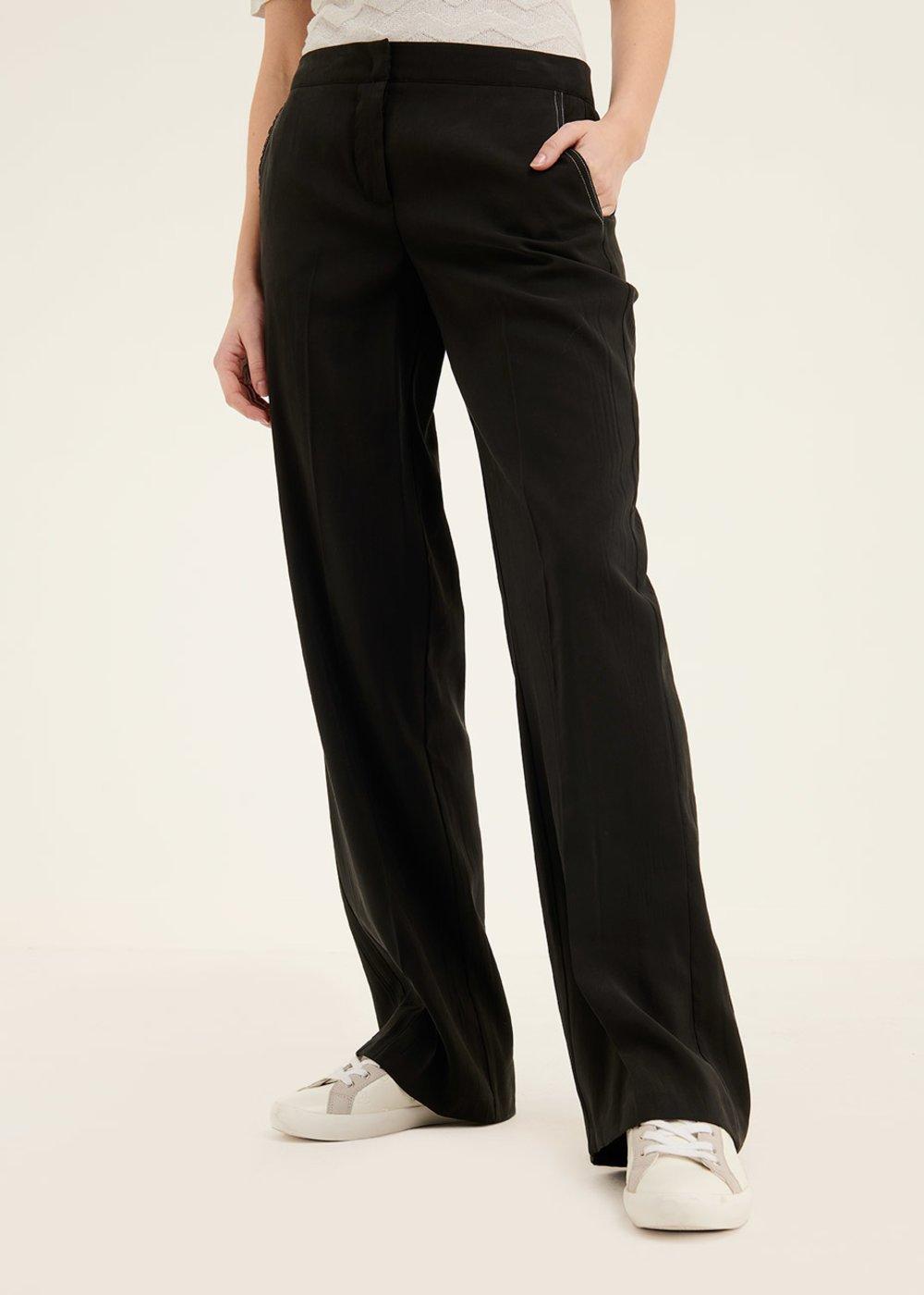 Paride peach skin effect trousers - Black - Woman