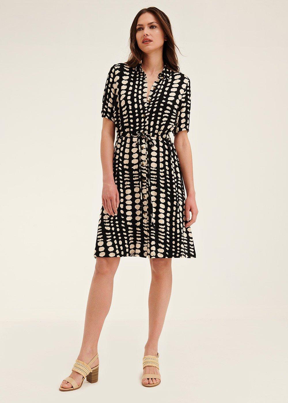 Arold dress with polka-dot pattern - Black / Latte Fantasia - Woman