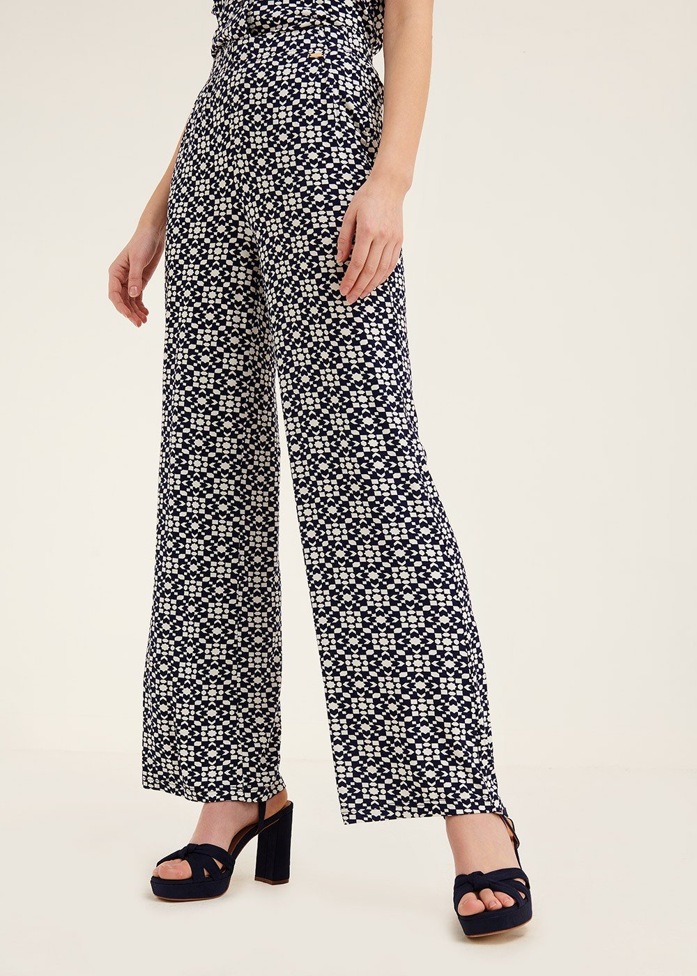 Pier trousers with optical pattern - Oltremare / White Fantasia - Woman