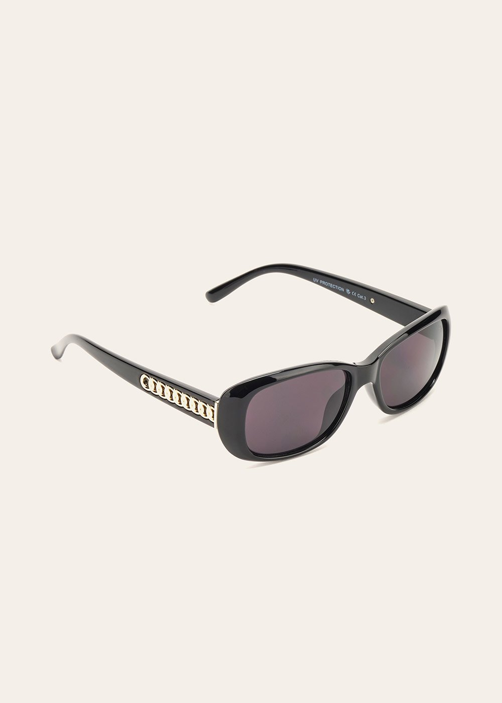 Sunglasses with chain detail - Black - Woman