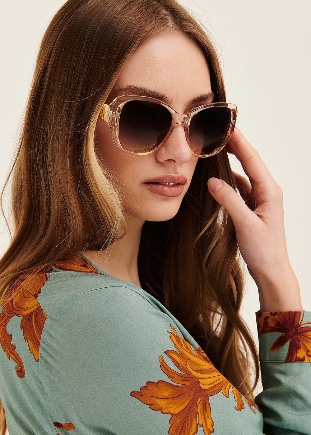 Sunglasses with metal frame - Nude - Woman