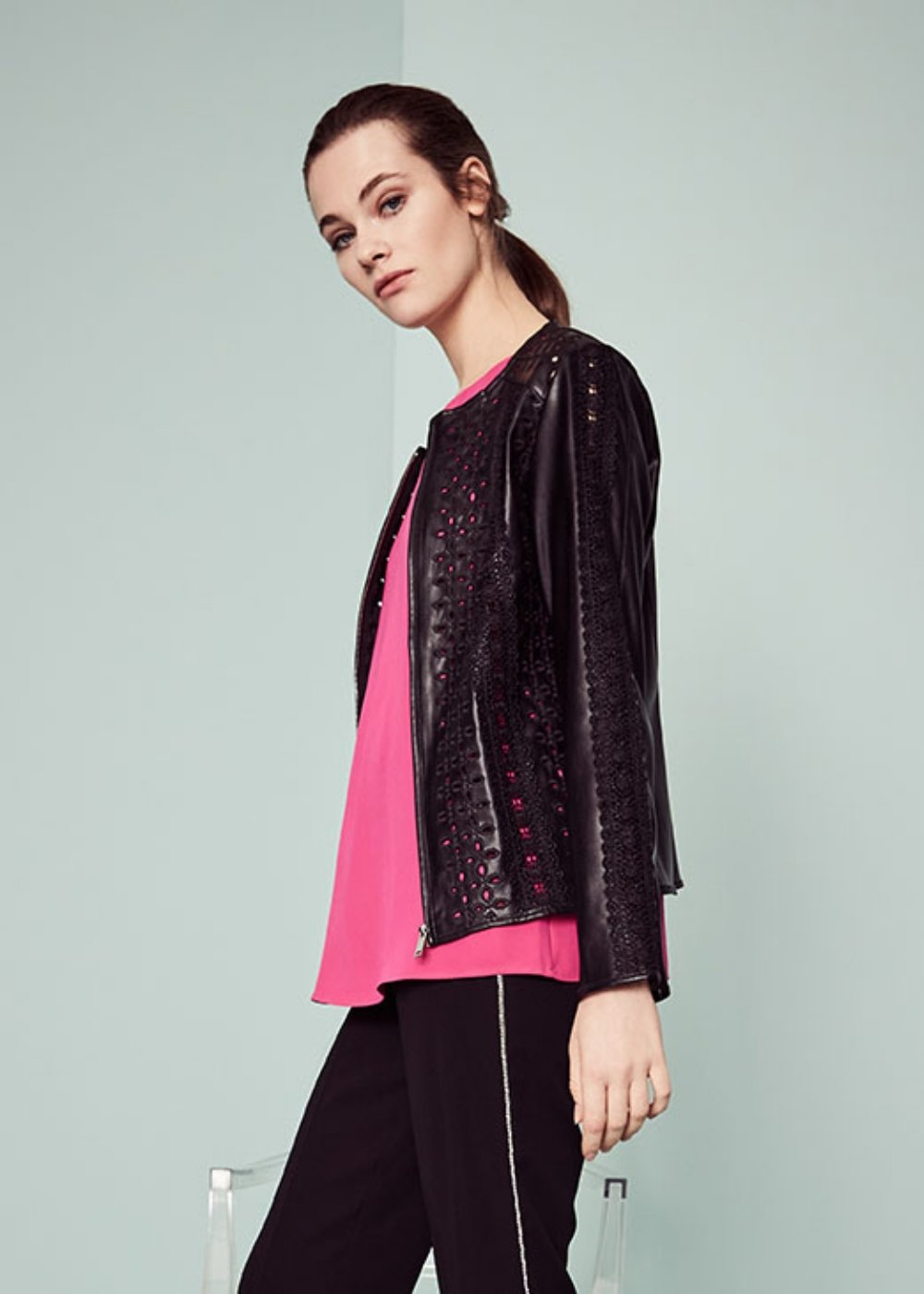 George faux-leather jacket with openwork effect - Black - Woman