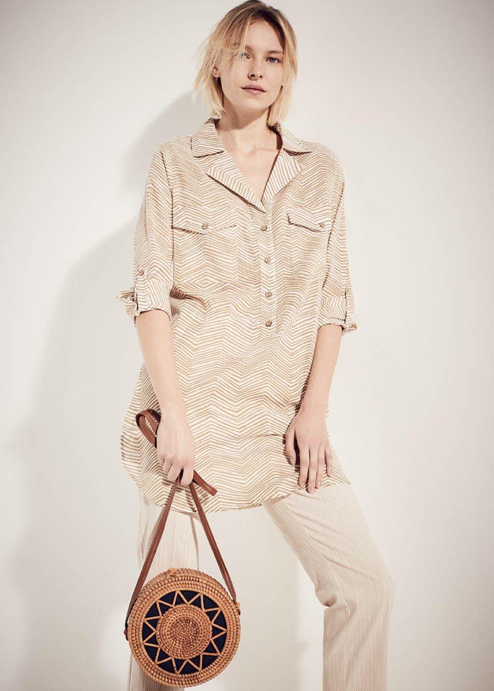 Camicia Claudy in cotone - White / Desert / Stripes - Donna
