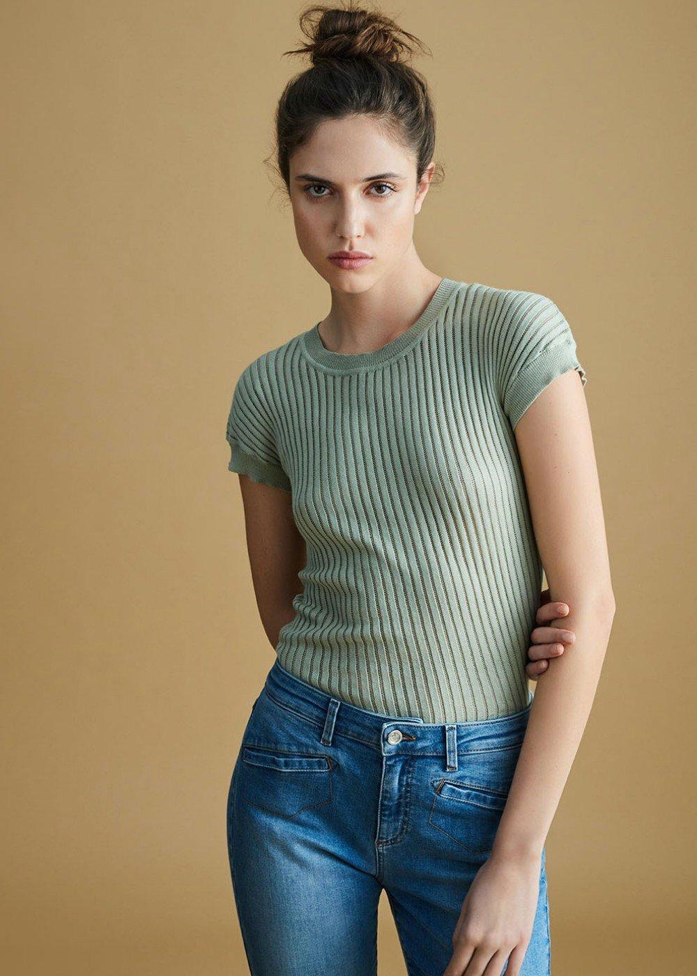 T-shirt Seraphine lavorazione righe tono su tono - Mentolo - Donna