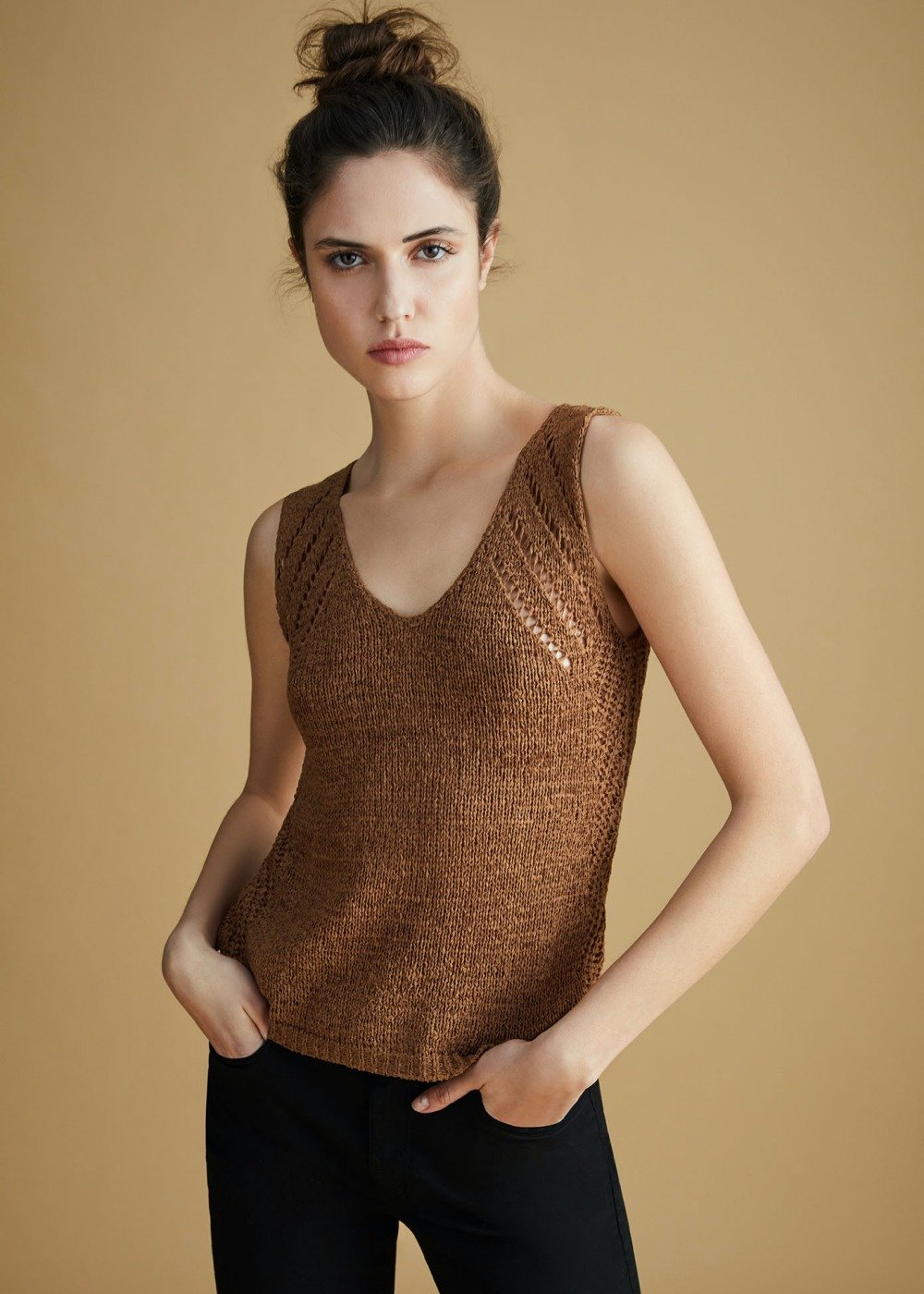Tiago crochet top - Camel - Woman