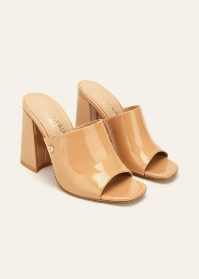 Sary patent faux-leather sabots