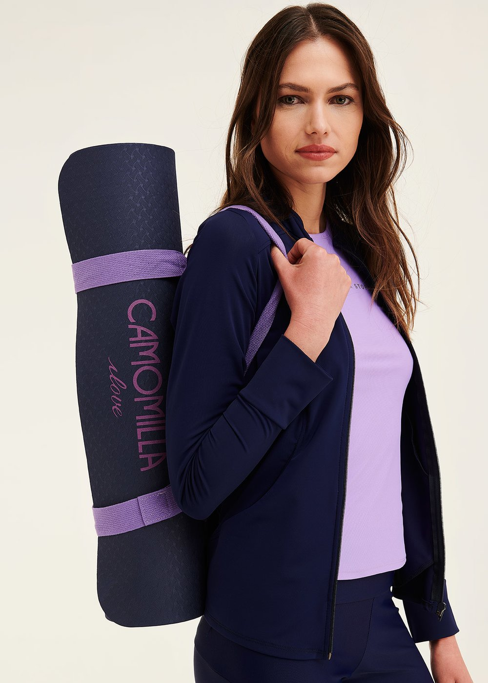 Yoga mat with logo - Oltremare /  Lavanda - Woman