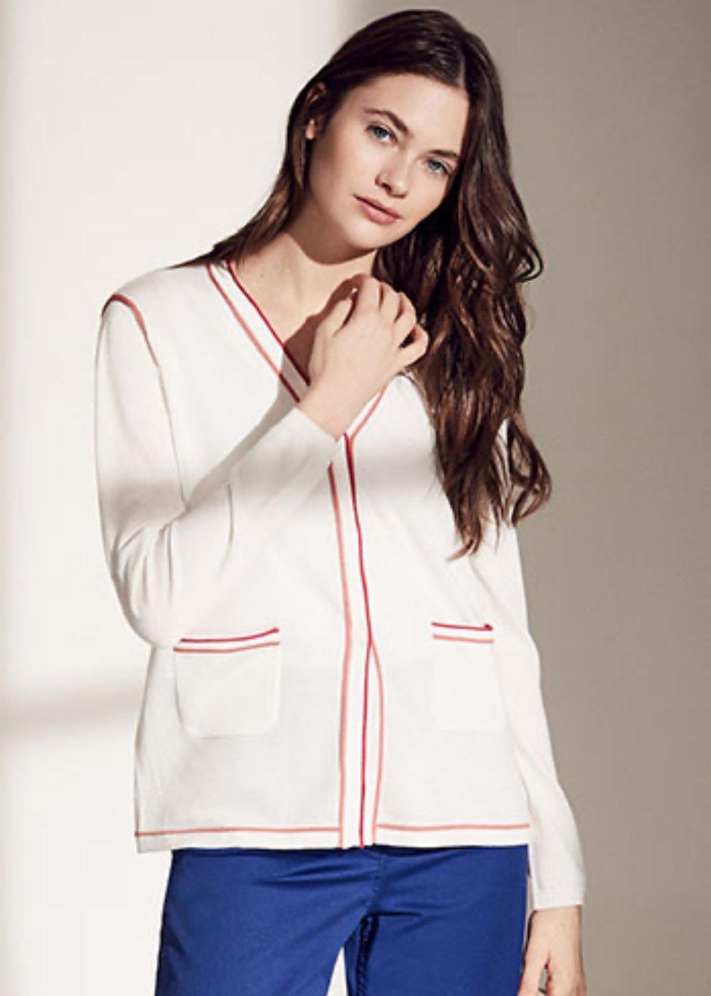 Clio cardigan with contrasting trim - White\ Corallo - Woman