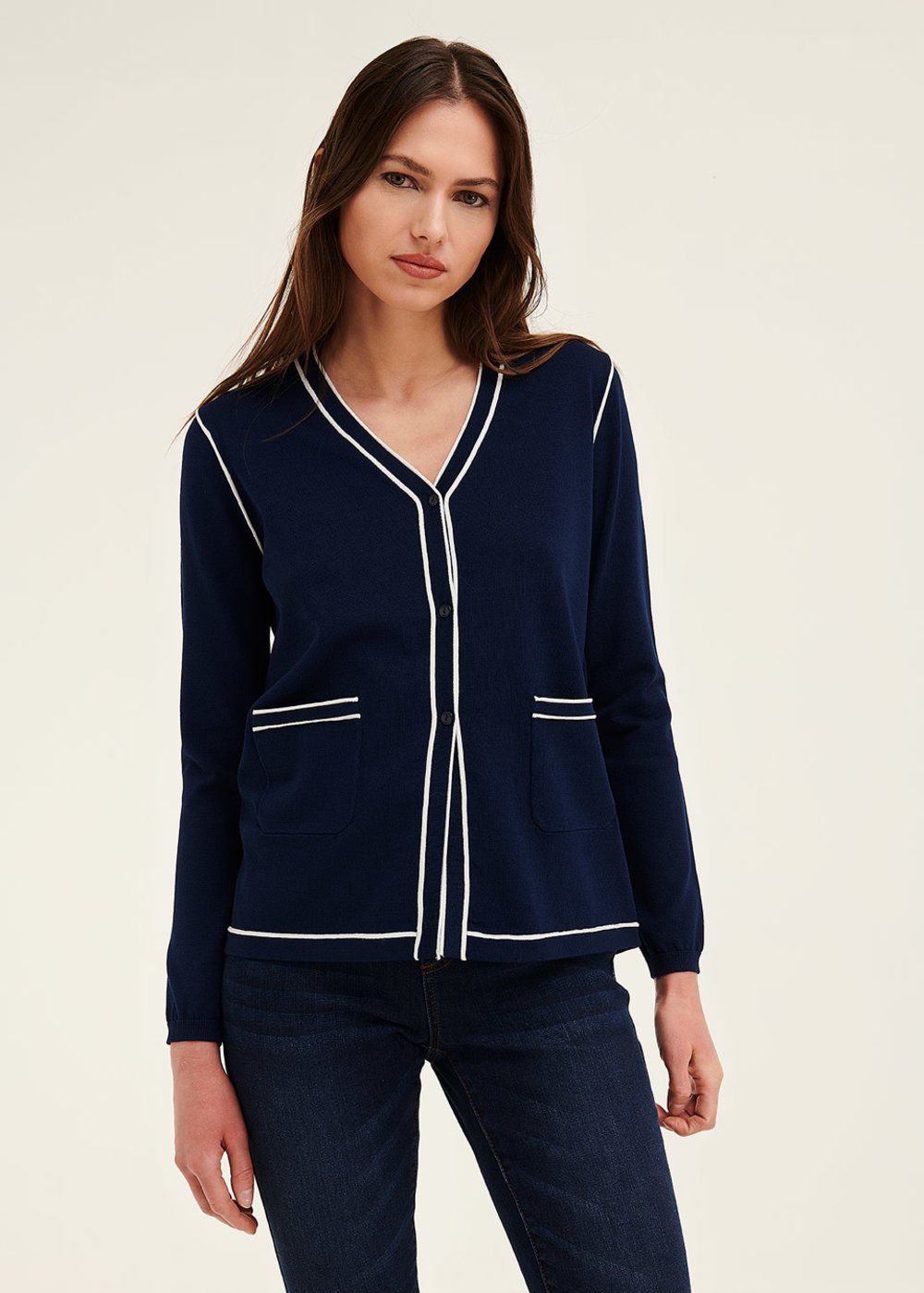 Clio cardigan with contrasting trim - Oltremare\ White - Woman