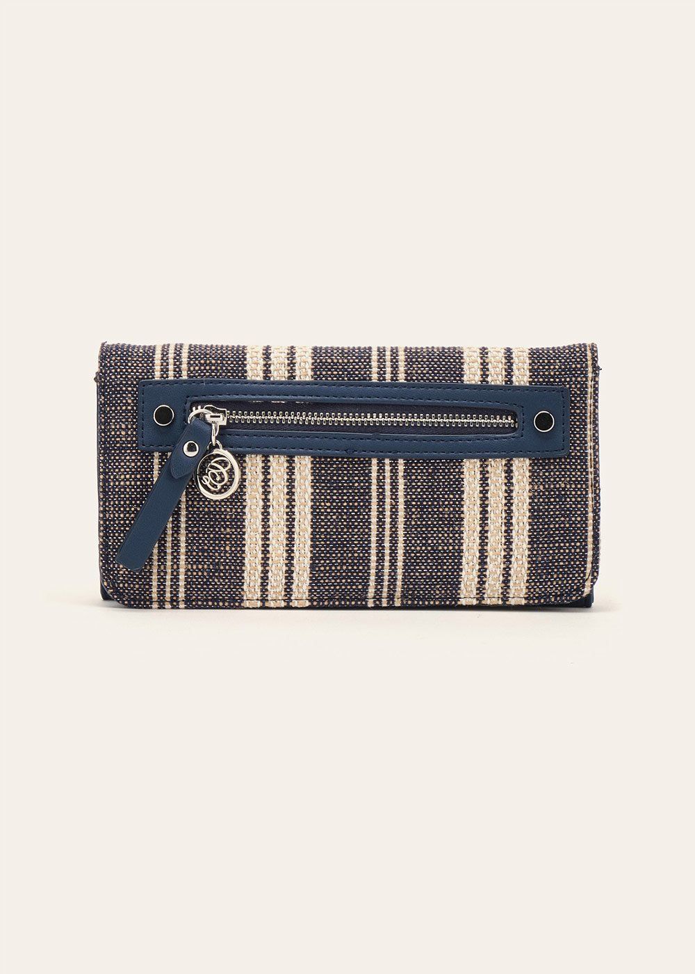 Pady fabric wallet - Dark Blue Stripes - Woman