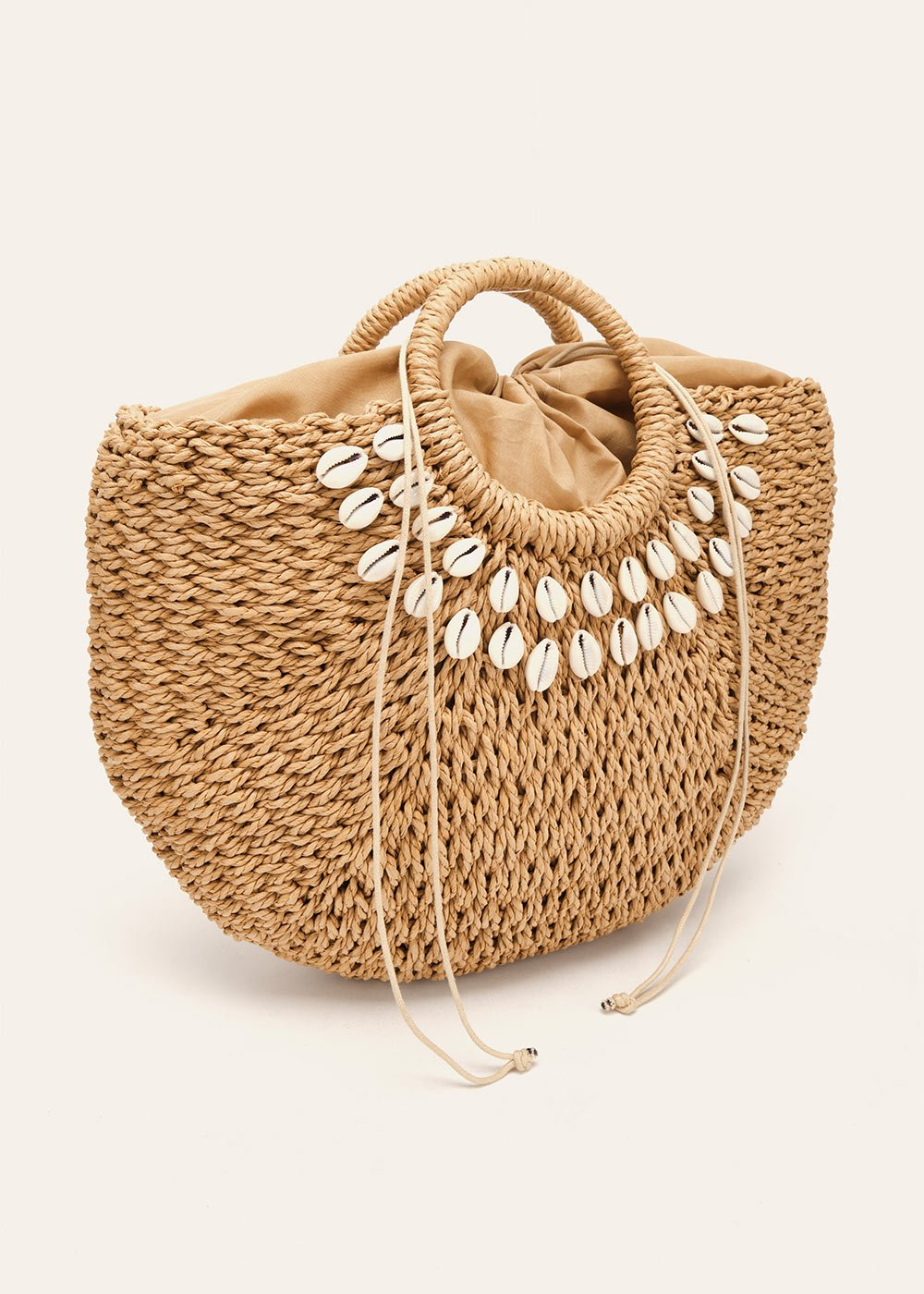 Betzie shopping bag with shells - Camel - Woman