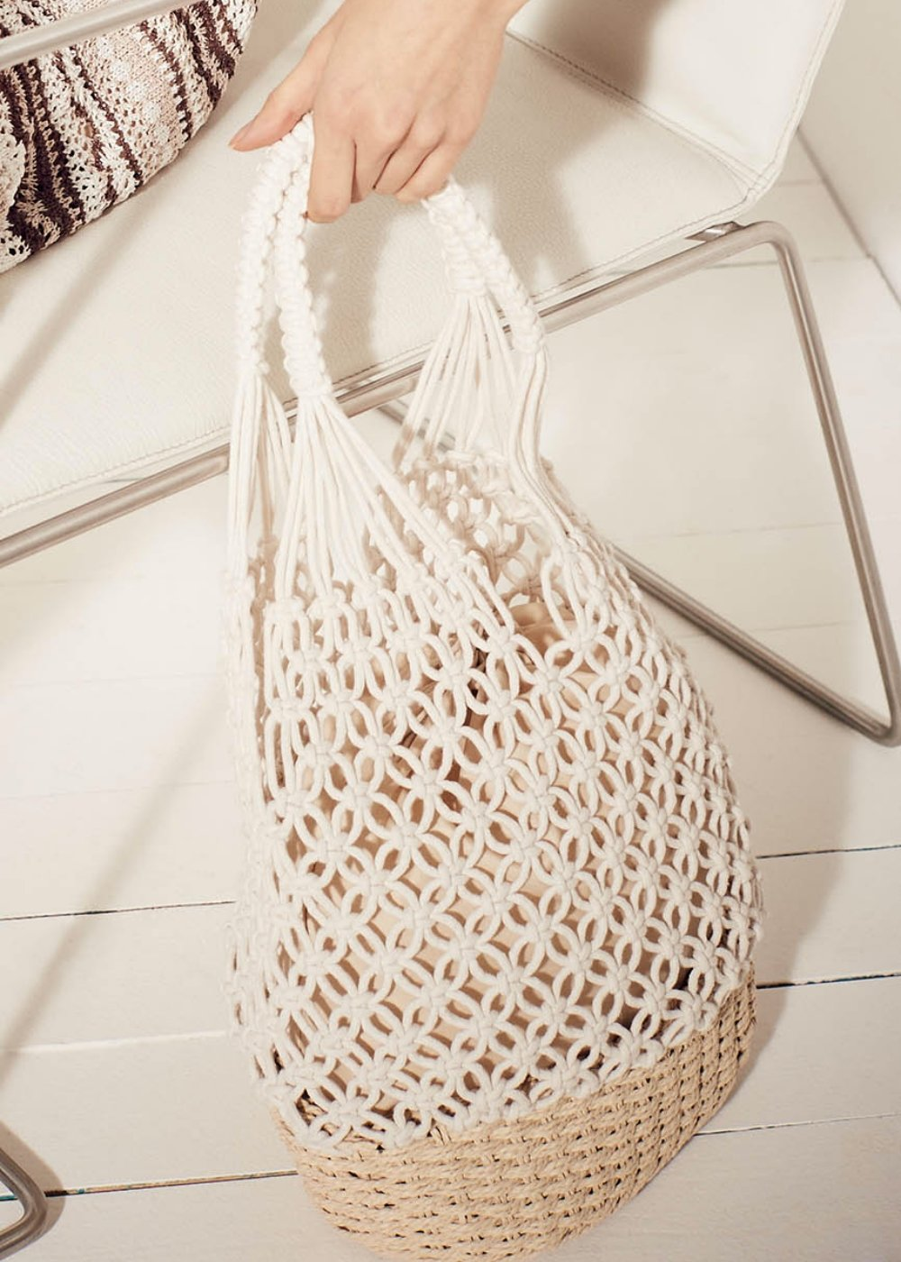 Blond woven rope shopping bag - Mousse - Woman