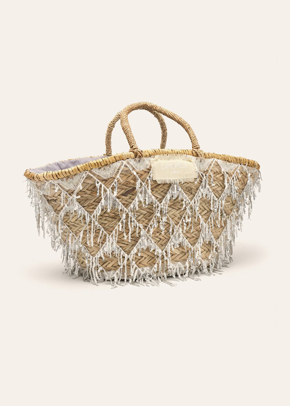 Bayer straw bag with sequins - Silver - Woman