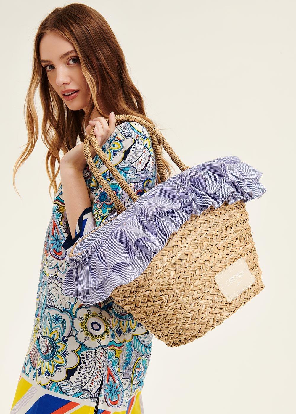 Barny straw bag with flounces - White / Blue Stripes - Woman