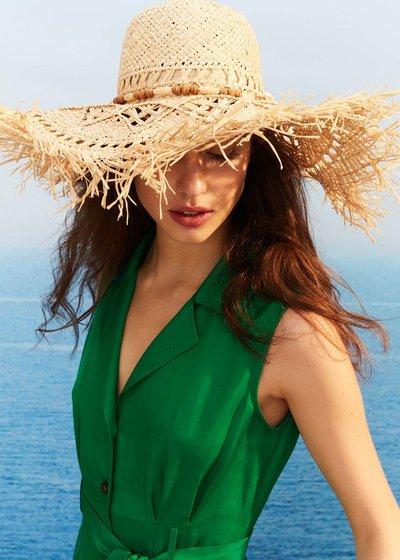 Clik openwork raffia hat