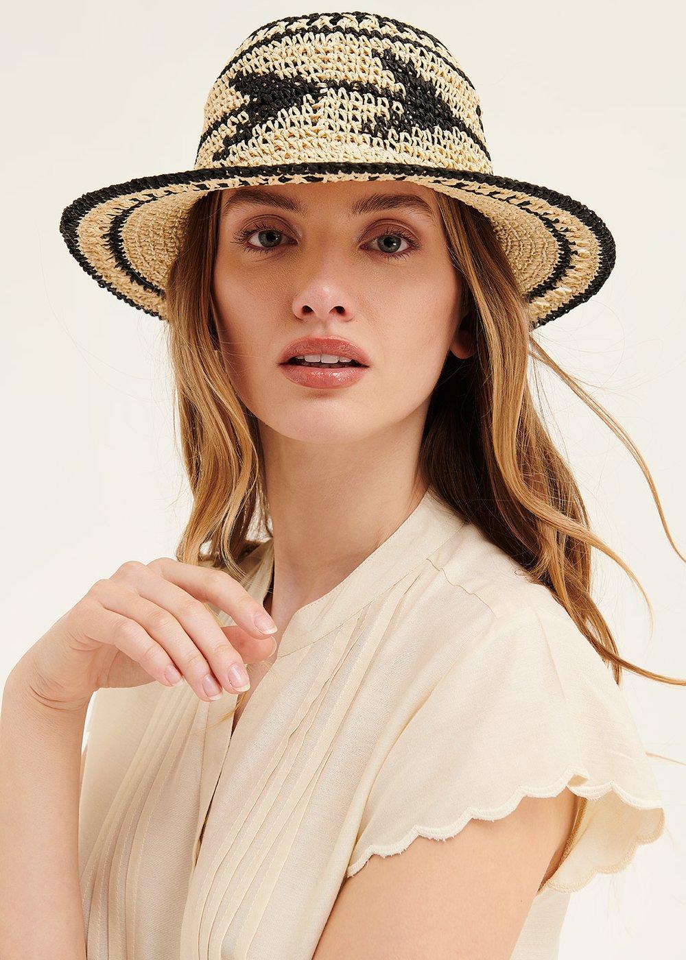 Cael beige and black hat - Beige / Black - Woman