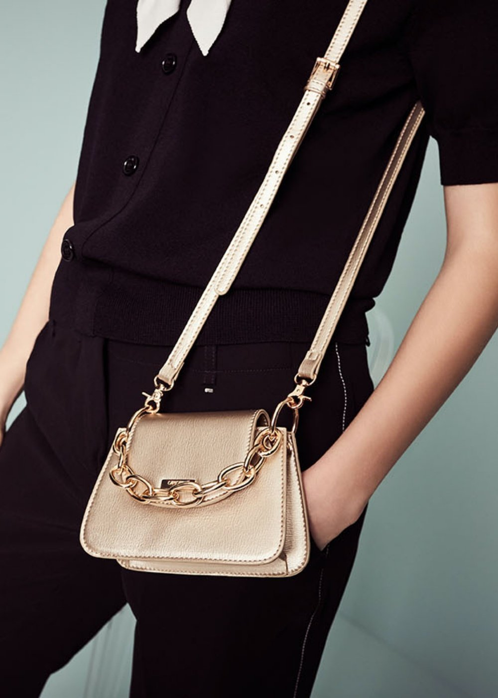 Bret clutch bag with chain - Gold - Woman