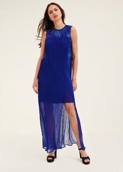 Azur pleated georgette dress