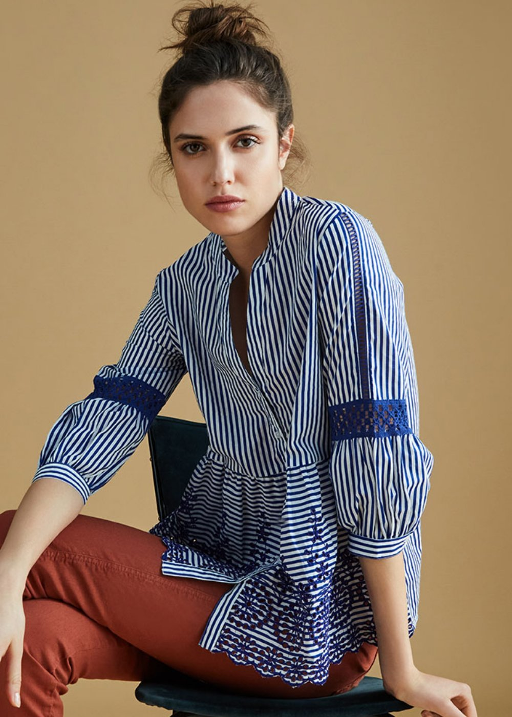 Cary shirt with band collar - Abisso\ White\ Stripes - Woman