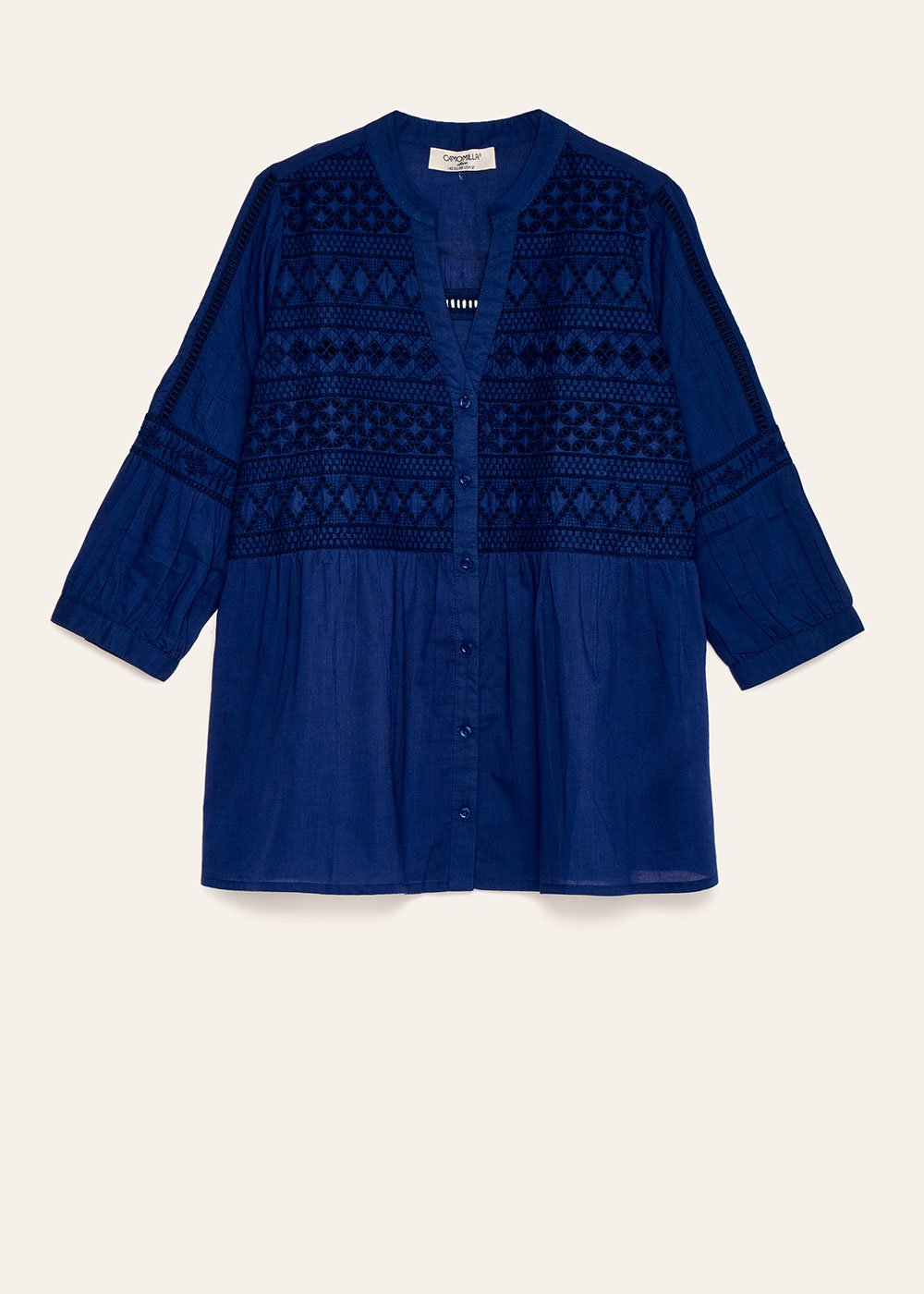 Claudia shirt with embroidery and openwork - Ultramarine - Woman