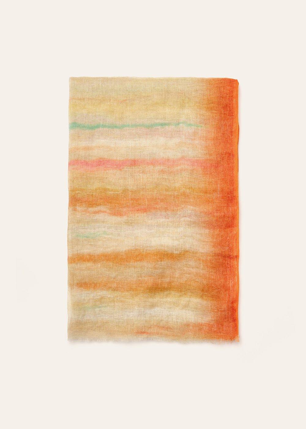 Sofia multicolour linen scarf - Orange - Woman