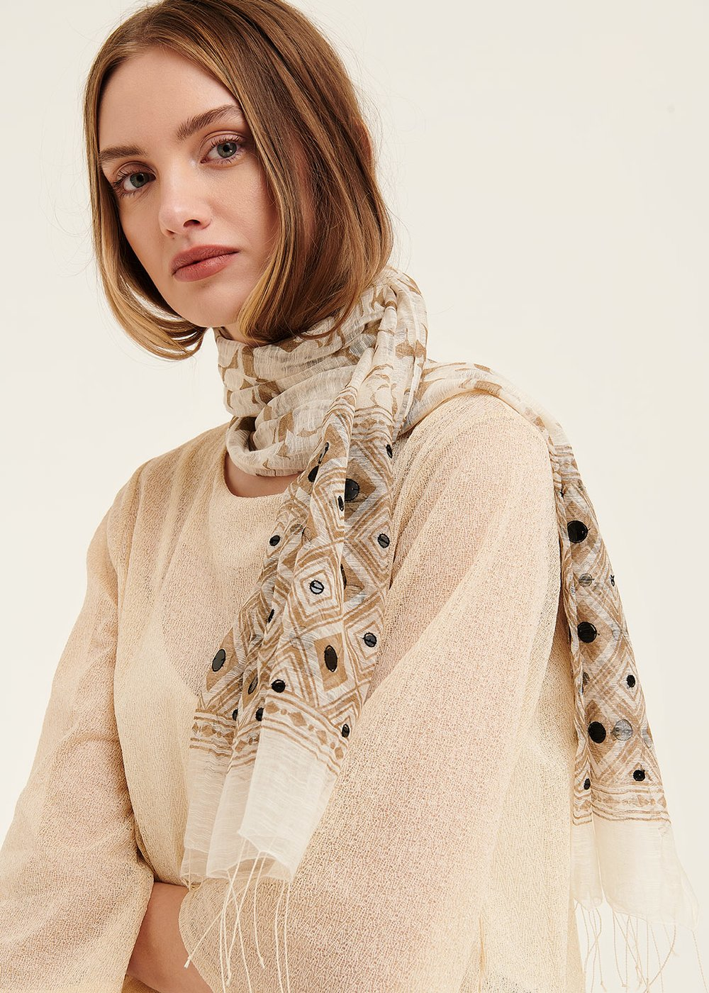 Sabrina scarf with sequined hem - White / Safari - Woman