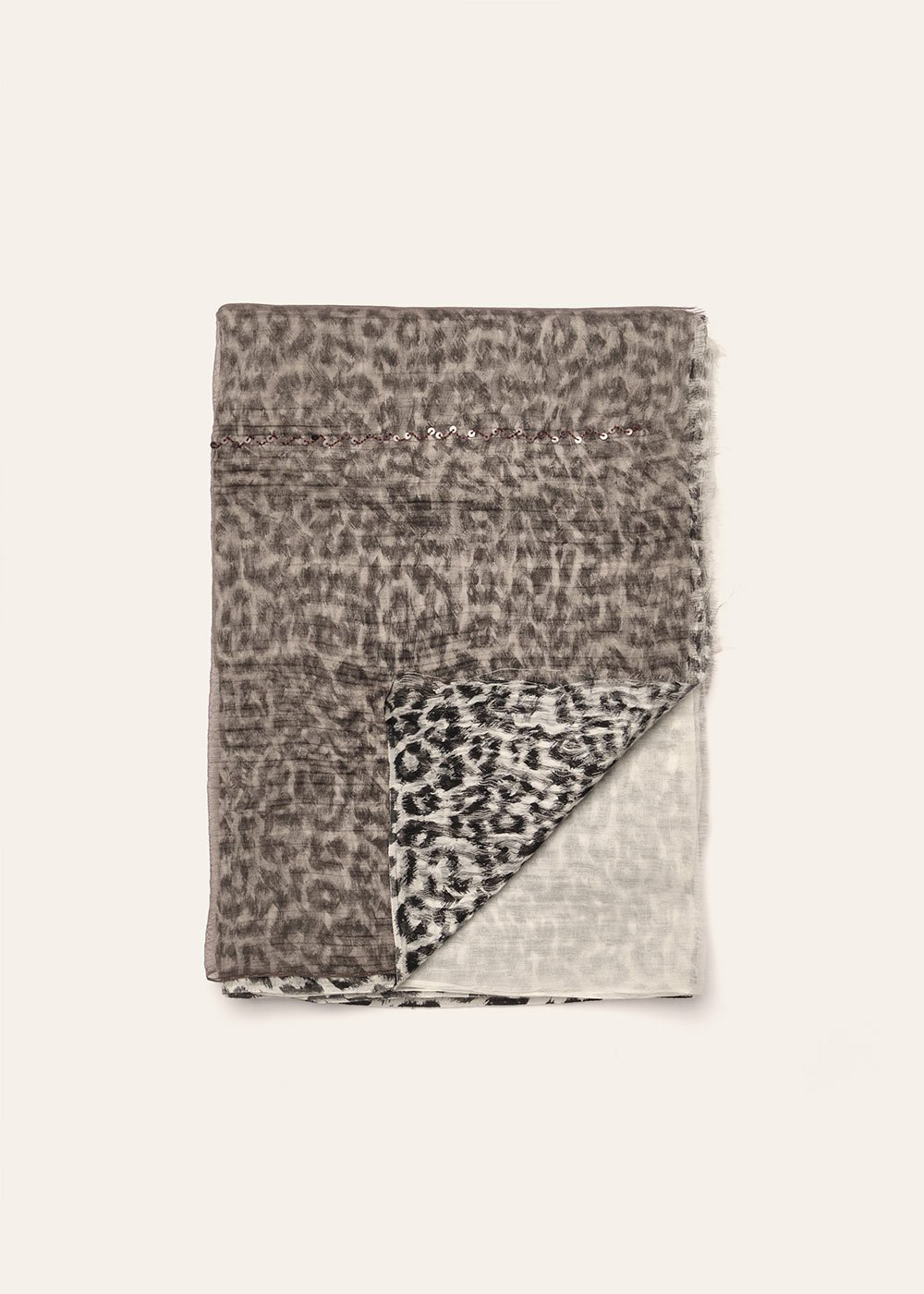Stacey double patterned scarf - White /  Cacao - Woman