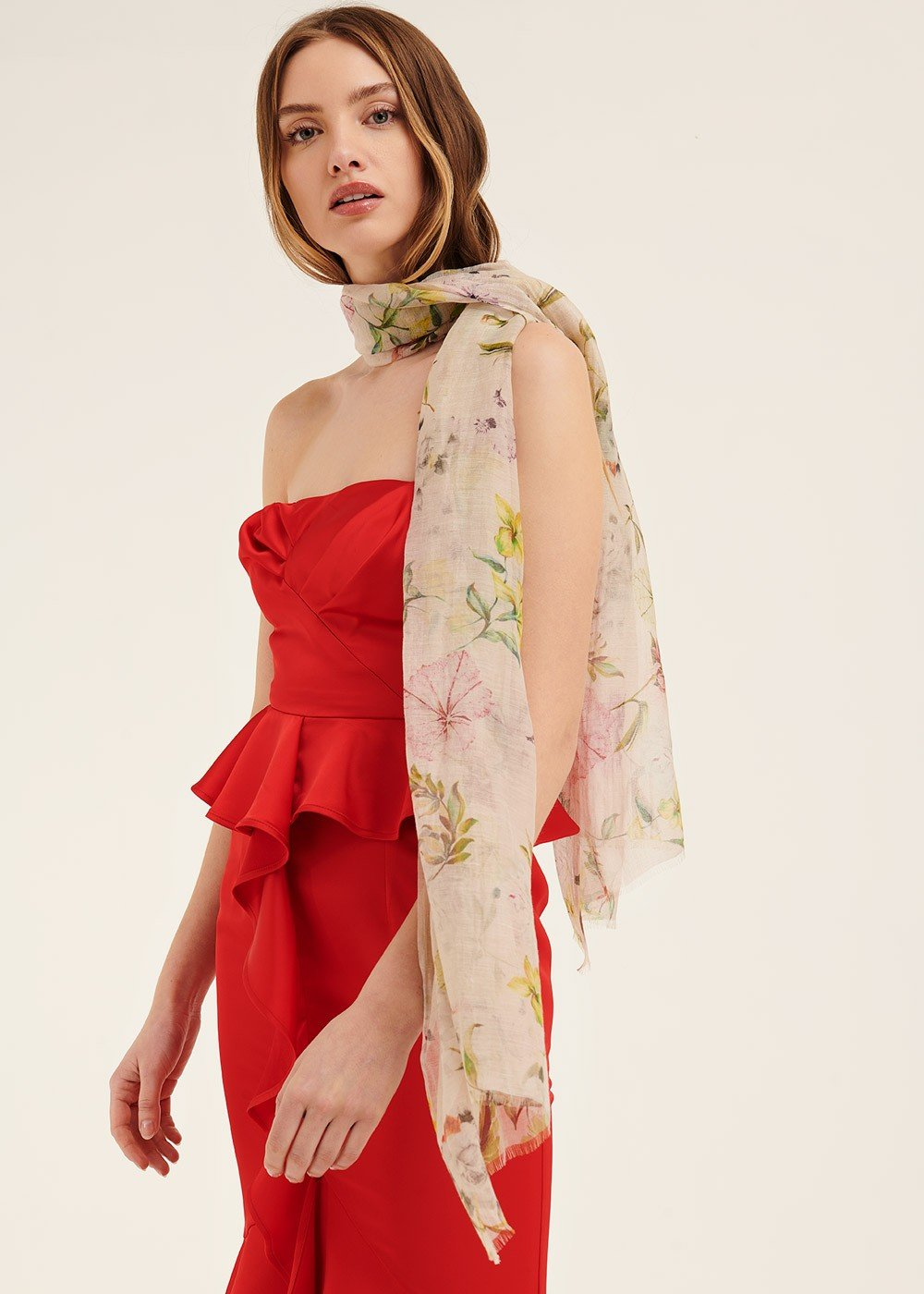 Sidney floral patterned scarf - Nude - Woman