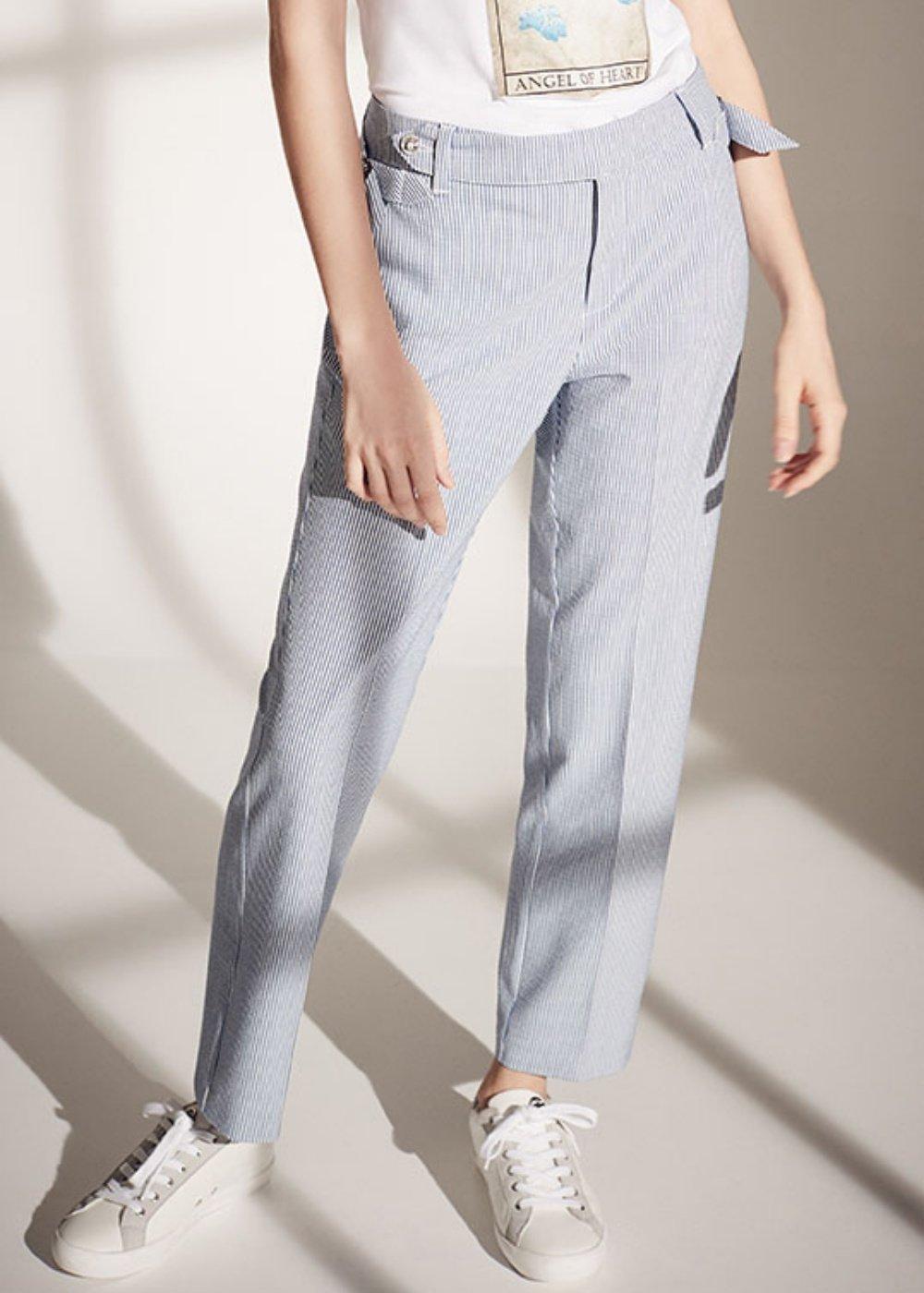 Pantalone Alice gamba slim - Nettuno / White Stripes - Donna