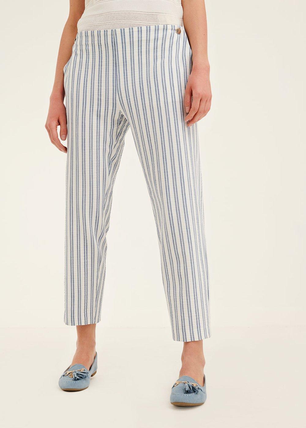 Pantalone Cara a righe veriticali - Blue / White Stripes - Donna