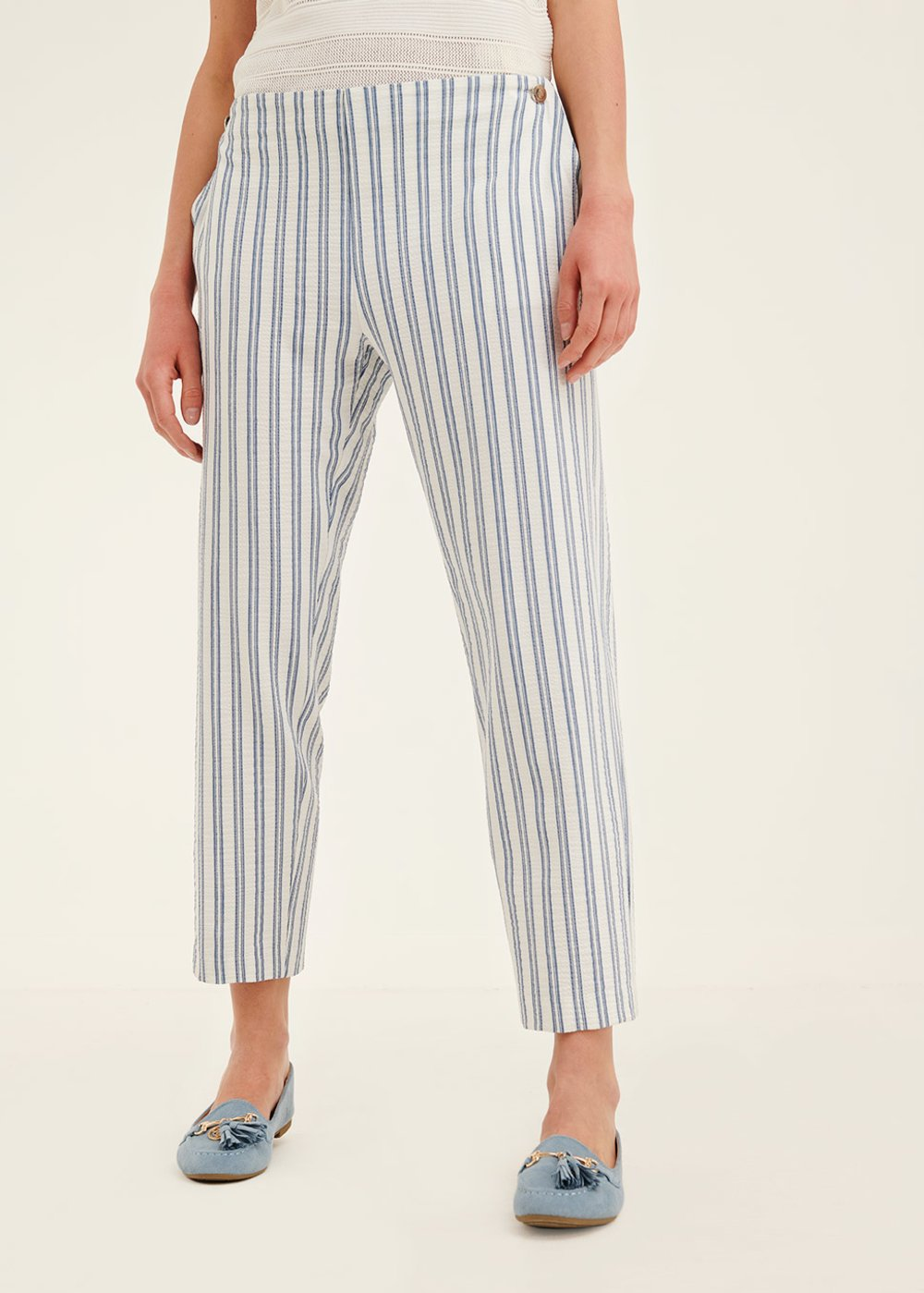 Cara trousers with vertical stripes - Blue / White Stripes - Woman