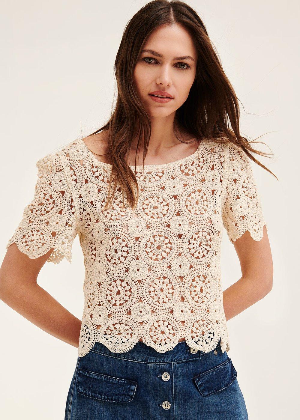 Selly crochet t-shirt - Milk - Woman
