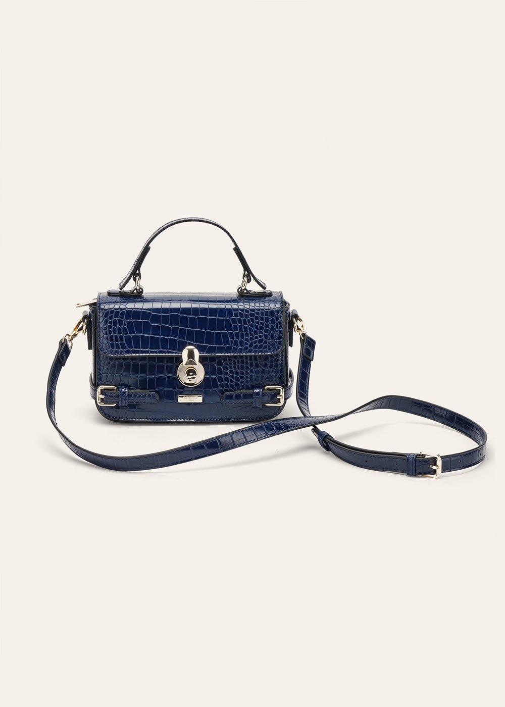 Bella crocodile-effect  shoulder bag - Blue - Woman