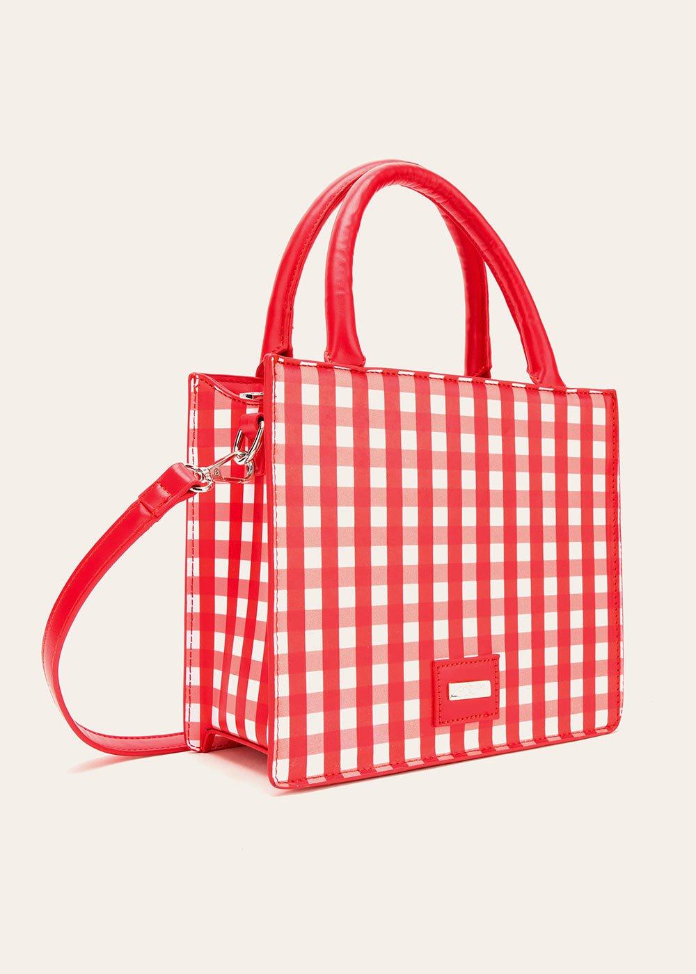 Bryanna vichy print shoulder bag - Aragosta /  White Fantasia - Woman