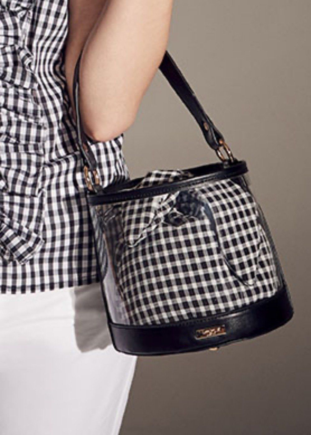 Brittany vichy print bucket bag - Black White Fantasia - Woman