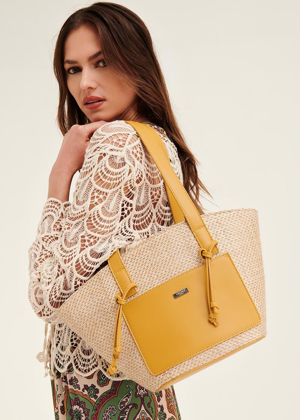 Bethney shopping bag with outer pocket - Safari /   Curcuma - Woman