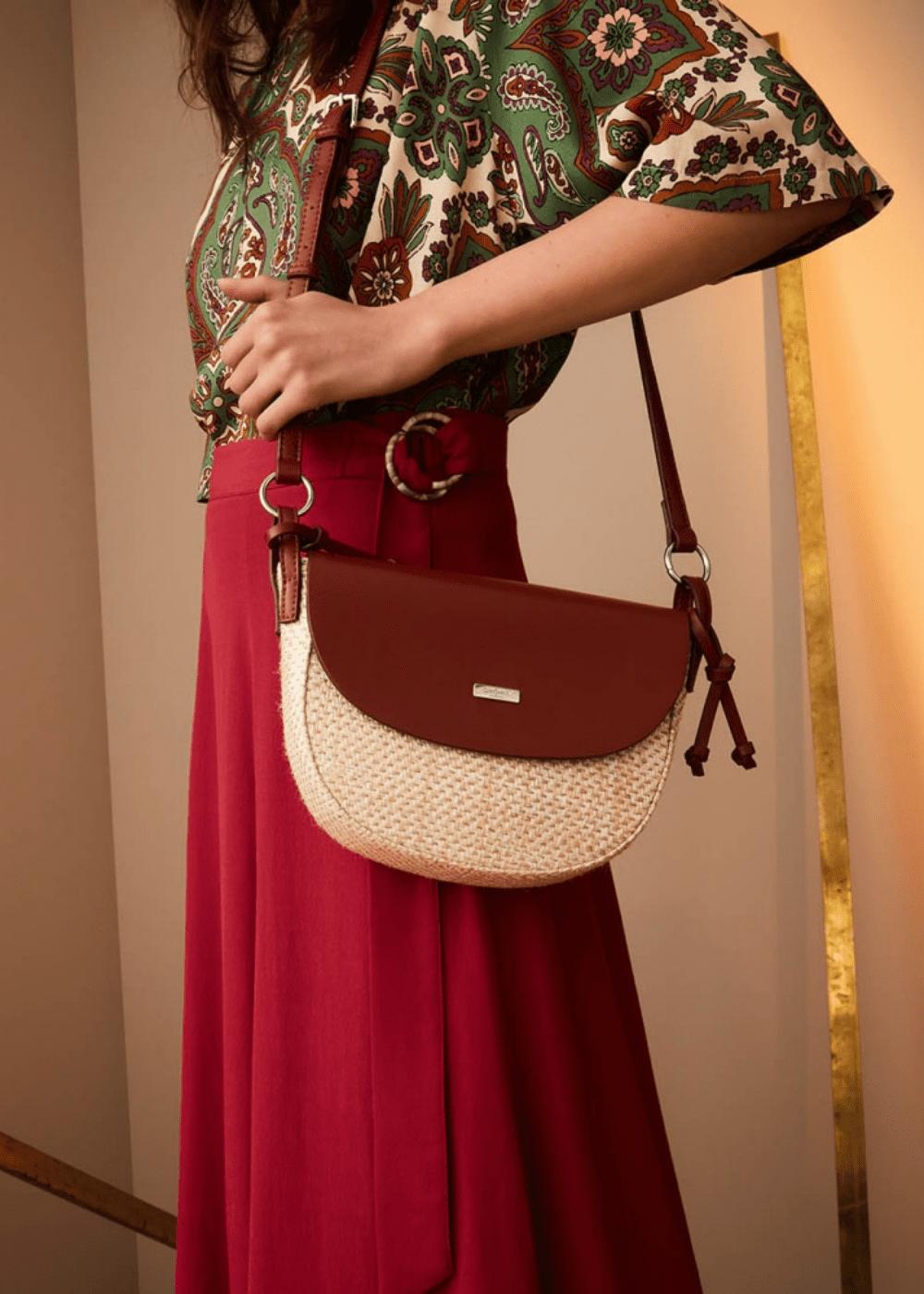 Bloss canvas and faux-leather shoulder bag - Safari /  Coccio - Woman