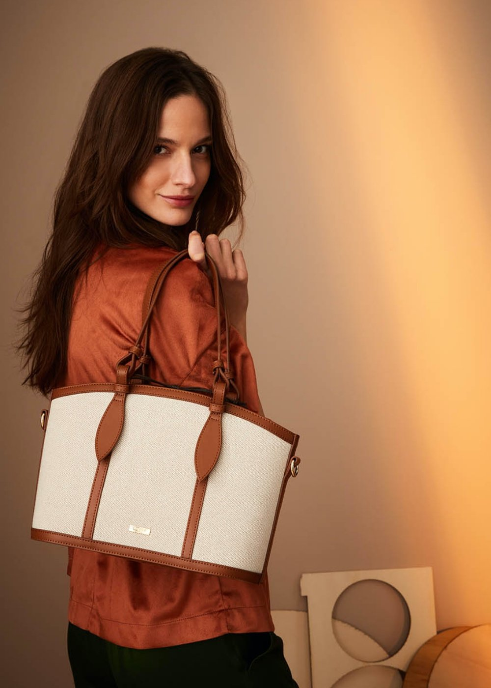 Bryann canvas and faux-leather shopping bag - Safari /  Cacao - Woman