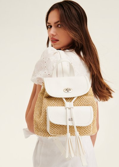 Brizy straw and faux-leather backpack